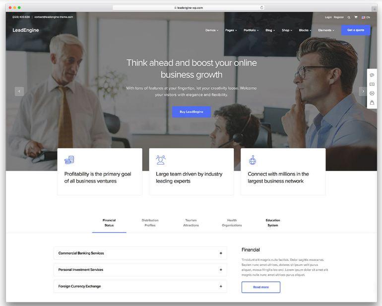 Mẫu website doanh nghiệp đơn giản - Leadengine